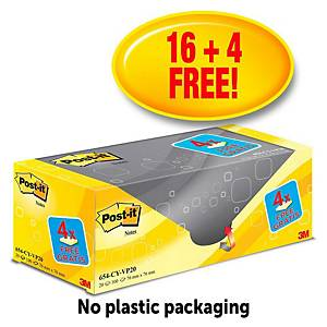 Post-It Value Pack Notes 76X76mm Yellow Pk20