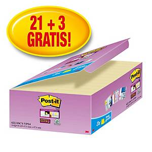 Pack promo Post-it® Super Sticky Notes 622-P24, jaune, 47,6x47,6mm, 21+3GRATUITS