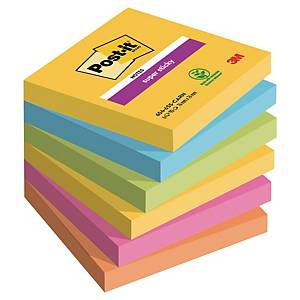 3M Post-it® 654 Super Sticky Haftnotizen, 76x76 mm, farbig, 6 Blöcke/90 Blatt