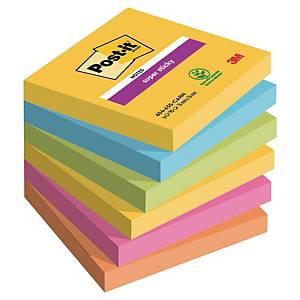 3M Post-it® 654 Super Sticky jegyzettömb, 76 x 76 mm, színes, 6 tömb/90 lap