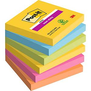 Pack de 6 blocks de 90 notas adhesivas Post-it Super Sticky - colores Río