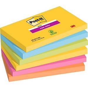 Post-it® Super Sticky Notes, Rio kleuren, 76 x 127 mm, per 6 blokken