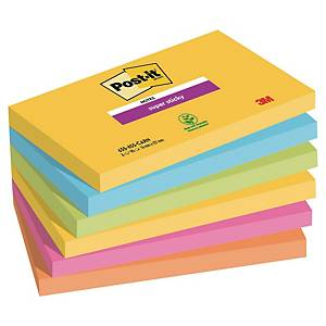 Notes Post-it Super Sticky - 76 x 127 mm - Rio - 6 blocs x 90 feuilles