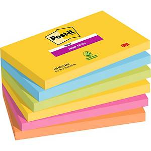 Pack 6 blocos 90 notas adesivas Post-it Super Sticky - cores Rio