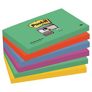 Pack 6 blocos 90 notas adesivas Post-it Super Sticky - cores Marraquexe