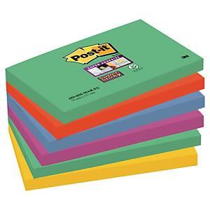 3M Post-it® 655 Super Sticky bločky 76x127mm, farebné, bal. 6 bločkov/90 lístkov