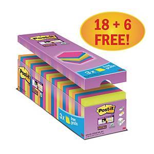 3M Post-it® 654 Super Sticky Haftnotizen, 76x76mm, bunt, 18 + 6 Blöcke/90 Blatt