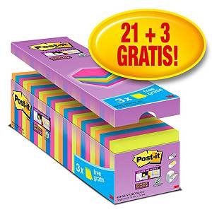 Pack promo Post-it® Super Sticky Notes SSCOLCAB, couleurs fluo, 76 x 76 mm, 21+3