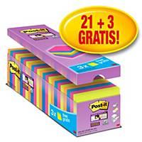 Post-it® Super Sticky Notes voordeelpak, neon kleuren, 76 x 76 mm, 21 + 3 GRATIS