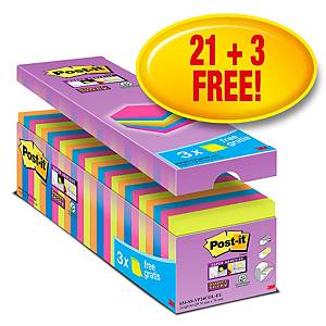 Notes repositionnables Post-it Super Sticky, 90 feuilles, paq. 24 unités