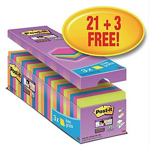 Notatblokk Post-it Super Sticky, 76 x 76 mm assortert, pakke à 24 blokker