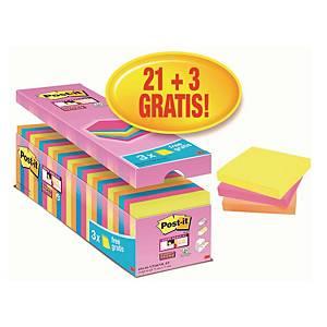 Karteczki Post-it®, zestaw 21 bloczków + 3 Gratis, kolorowe, 76x76mm