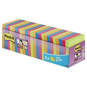 Pack de 21 + 3 block de 90 notas adhesivas Post-it Super Sticky - varios colores