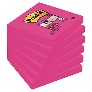 Notatblokk Post-it Super Sticky, 76 x 76 mm, neonrosa, pakke à 6 blokker