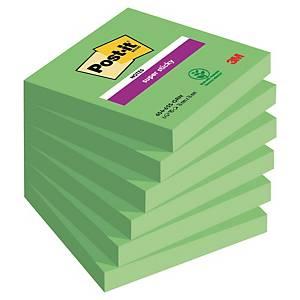 Post-it Super Sticky Notes, 76 x 76 mm, neongrøn, pakke a 6 blokke