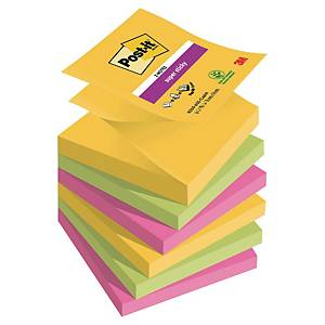 3M Post-it® R330 Super sticky öntapadó z-tömb 76x76mm, színes, 6 tömb/90 lap