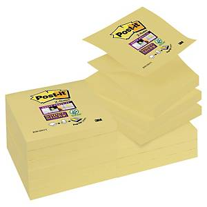 Post-it Super Sticky Z-notes, 76 x 76 mm, gul, pakke a 12 blokke