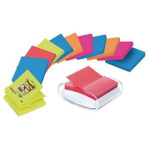 Pack 12 blocos notas adesivas Z Post-it Super Sticky e dispensador