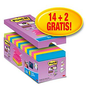 Pack promo Post-it® Super Sticky Z-Notes S330-16, 76 x 76 mm, 14+2 GRATUITS