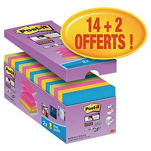 Z-Notes Post-it Super Sticky - 76 x 76 mm - assortis - 16 blocs x 90 feuilles
