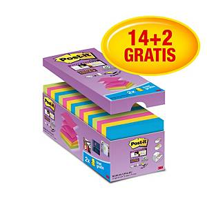 3M Post-it® R330 Super sticky öntapadó z-tömb 76x76mm, színes, 16 tömb/90 lap