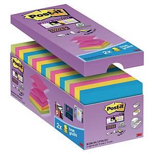 Notisblock Post-it Super Sticky Z-notes, 76 x 76 mm, utv. färger, 16 block/fp