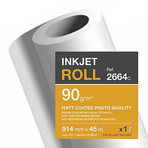 Papier traceur Clairefontaine 2664C, coated mat, 90 g, l 914 mm x L 45 m