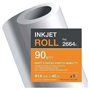 Clairefontaine Matt Coated Inkjet Paper Plotter Roll 90 gsm 45M X 914mm - 1 Roll