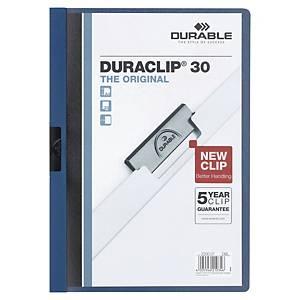 Dosier flexible con pinza Durable Duraclip - A4 - PVC - 30 hojas - azul oscuro