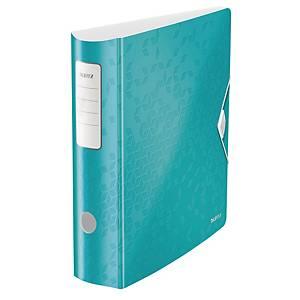 Ordner Leitz 1106 WOW, PP-kaschiert, A4, Rückenbreite: 82mm, eisblau metallic