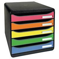 Exacompta Iderama BIG-BOX 5 Drawer Set, Black/Assorted