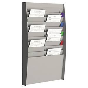 Paperflow muurdisplay met 20 vakken voor A4 documenten, grijs