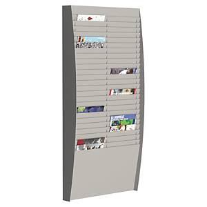 Paperflow muurdisplay met 50 vakken voor A4 documenten, grijs