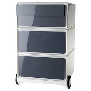 Caisson mobile en métal Paperflow Easybox - 4 tiroirs - blanc/anthracite