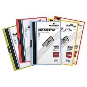 Klämmapp Durable DURACLIP, A4-format, utvalda färger
