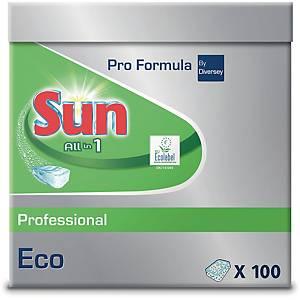 Opvasketabs Diversey Sun Pro Eco All In 1, æske a 100 stk.