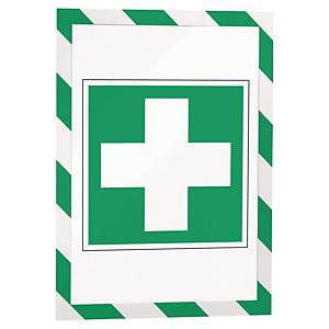 Duraframe Security Magnetic Display Frame, A4, Green/white, Pack of 5