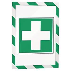 Magnetisk lomme Durable Duraframe Security, A4, grønn/hvit, pakke à 5 stk.