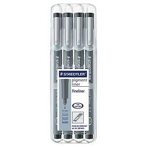 Liner pigmentový Staedtler 308, černý, balení 4 různých velikostí