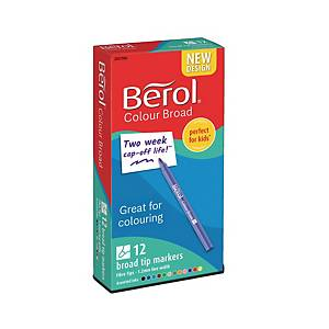 Berol Felt Tip Colouring Markers Broad Asst - Box Of 12