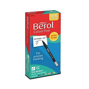 Berol Felt Tip Colouring Markers Fine Asst - Box Of 12