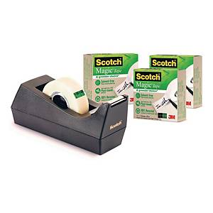 Scotch Magic Tape C38 Desk Dispenser Black + 1 Roll of Scotch Magic Tape