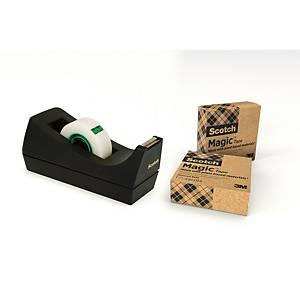 Scotch Magic Tape C38 Desk Dispenser Black + 1 Roll of Scotch Magic Tape