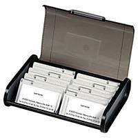 Exacompta Top Line Business Card Box, 18x24.5x6cm, Black/Grey Translucent