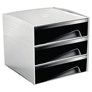 Mini cassettiera da scrivania 3 cassetti Cep My Cube nero