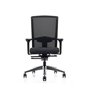 Prosedia Se7en Flex bureaustoel met wielen harde ondergrond, stof/mesh, zwart