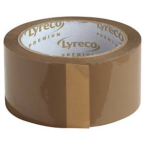 Pakketape Lyreco Premium Hot Melt, PP, 50 mm x 66 m, brun, pakke a 6 ruller