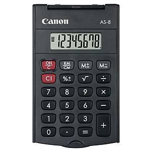 Calculatrice de poche avec couvercle Canon AS-8, gris foncé, 8 chiffres