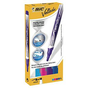 Bic® Velleda Liquid Ink pocket whiteboard marke, 4 kleuren, per 4 markers