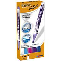 Bic Velleda Pocket Whiteboard Pens Large Bullet Nib -Assorted Colours, PK 4